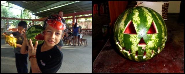 Watermelon jack-o-lanterns