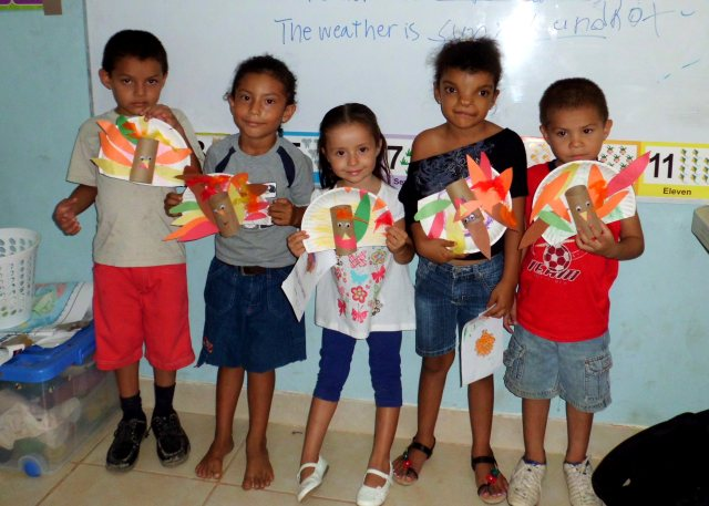 AM students with turkey crafts