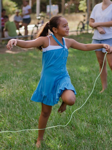 An AM Participant works on her jump rope skills at a recent Fun Friday.